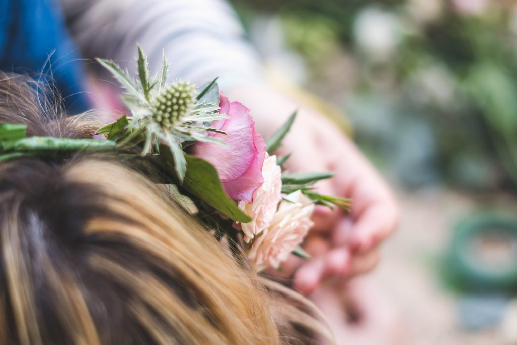 Wedding and event florist Bristol Flourish and Grace flower crown workshop hen weekend