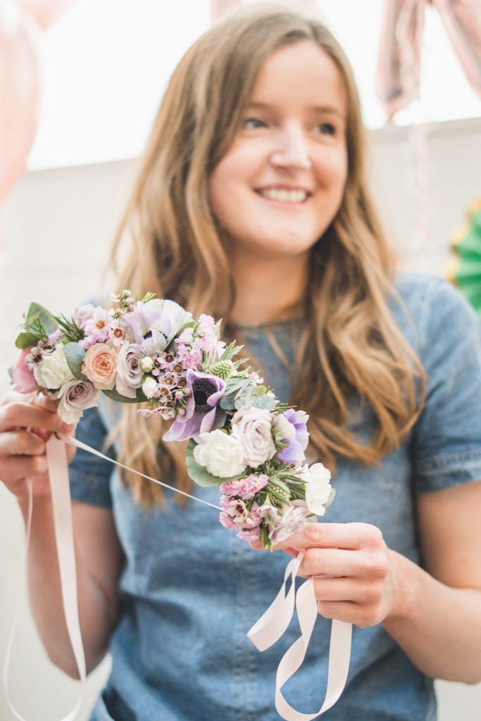 Wedding and event florist Bristol Flourish and Grace flower crown workshop hen weekend