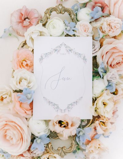 Wedding stationery flatlay with flowers by flourish and grace