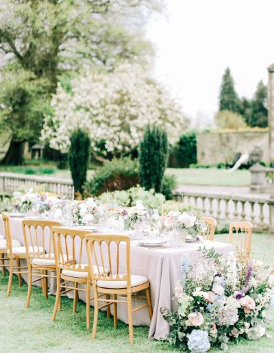 Pastel pink blue lilac wedding table with flowers by flourish and grace