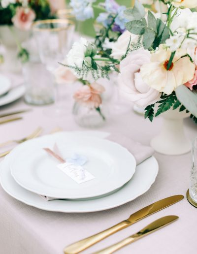 Bridgerton inspired wedding table flowers by Flourish and Grace