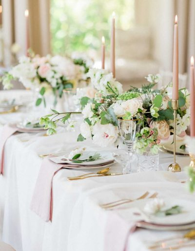 Fine art Wedding table flowers by Flourish and Grace