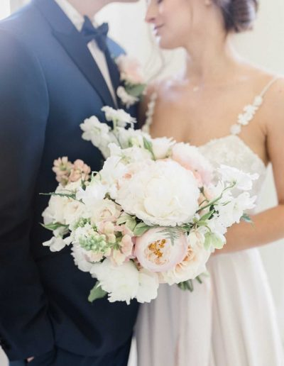 Fine art Bride with wedding bouquet and silk ribbons by Flourish and Grace