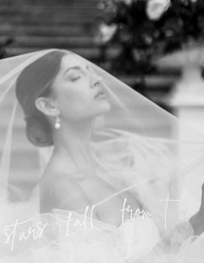 Bridal portait in black and white