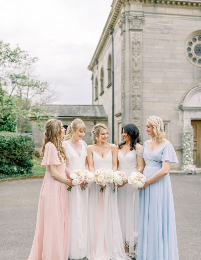 Bridesmaids in TH&H dresses and bride in wedding dress with bouquets by Flourish and Grace, Bristol Wedding Florist and featured on Love My Dress Wedding Blog
