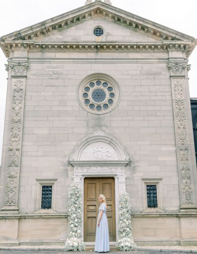 Fine art Bride in TH&H wedding dress with bouquet and flower arch by Flourish and Grace, Bristol Wedding Florist
