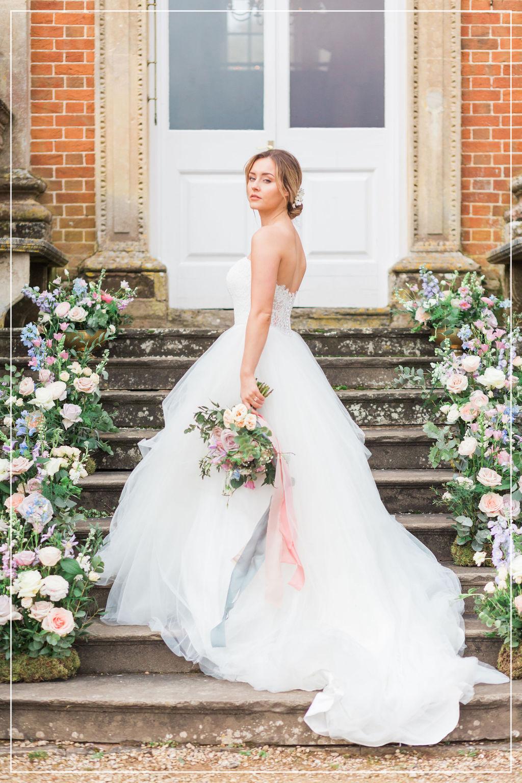 fine art pink and blue wedding bouquet flourish and grace bristol wedding florist