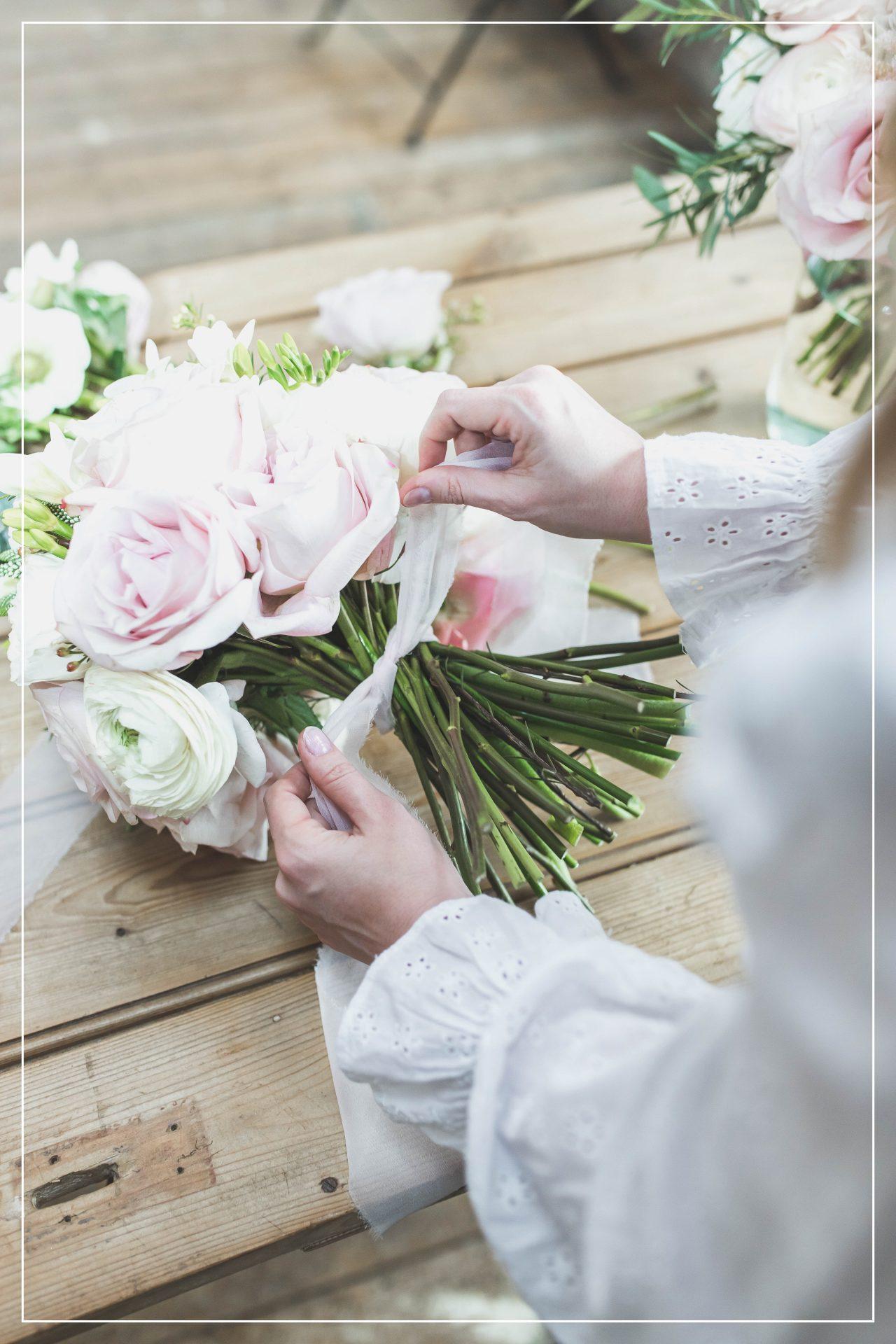 Flourish and Grace wedding bouquet with ribbon Bristol