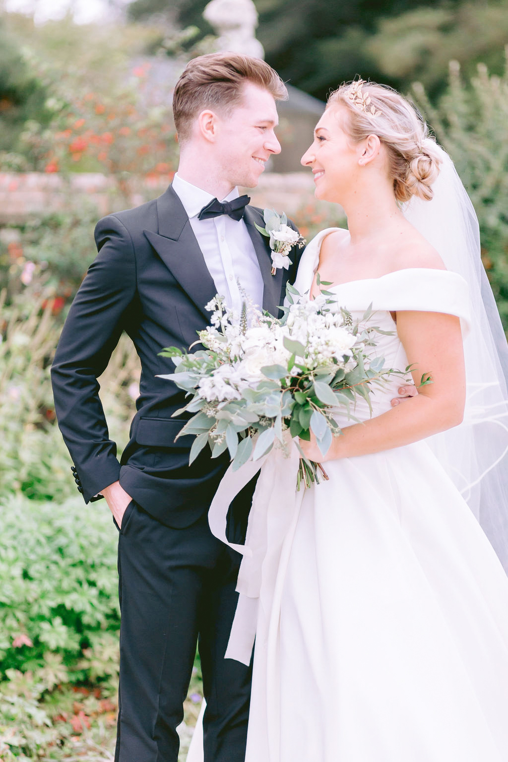 fine art green and white wedding bouquet flourish and grace bristol wedding florist