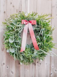 Foliage eucalyptus Christmas wreath with festive foliage, cinerea, spruce and ribbon for delivery Bristol postage across the uk