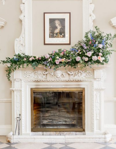 Flourish and Grace wedding fireplace flowers