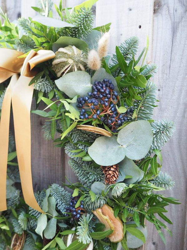 Christmas wreath diy kit with postage Bristol and across the UK with foliage, fruit slices, pine cones and berries