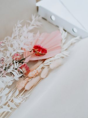 Mixed dried bouquet pink and white by Flourish and Grace