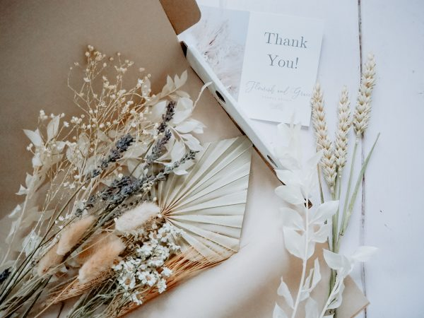Mixed dried bouquet natural and white with lavender by Flourish and Grace