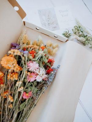 Large Mixed dried bouquet pink and yellow by Flourish and Grace