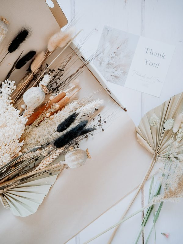 Large Mixed dried bouquet natural and black by Flourish and Grace